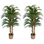60 in. Tall Palm Tree Artificial Faux Lifelike in Bamboo Wicker Planter (Set of 2)