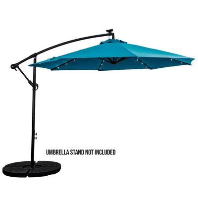 10 ft. Cantilever Aluminum Solar Patio Umbrella Cross Base in Teal