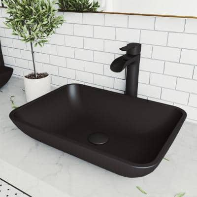 Matte Shell Sottile Glass Rectangular Vessel Bathroom Sink in Black with Niko Faucet and Pop-Up Drain in Matte Black