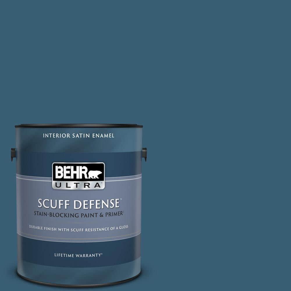 Behr Ultra 1 Gal S490 7 Superior Blue Extra Durable Satin Enamel Interior Paint Primer 775301 The Home Depot