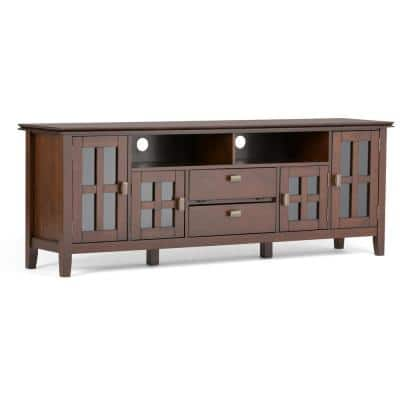 Artisan Solid Wood 72 in. Wide Transitional TV Media Stand in Russet Brown for TVs up to 80 in.