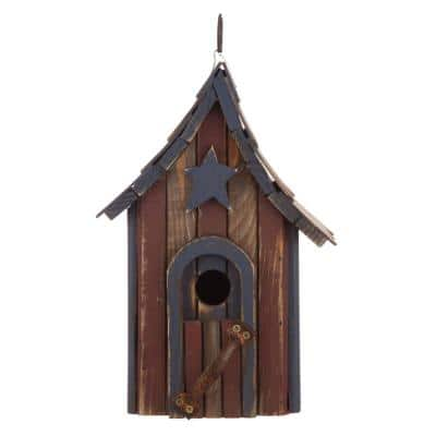 11.5 in. H Hanging Distressed Solid Wood Garden Birdhouse