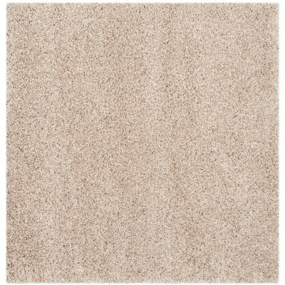California Shag Beige 7 ft. x 7 ft. Square Solid Area Rug