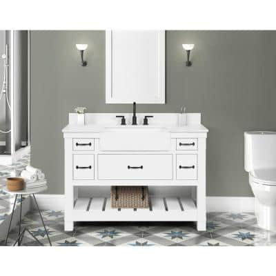 Wellford 49 in. W x 22 in. D x 34.50 in. H Bath Vanity in White with Engineered Stone Vanity Top in White with Basin