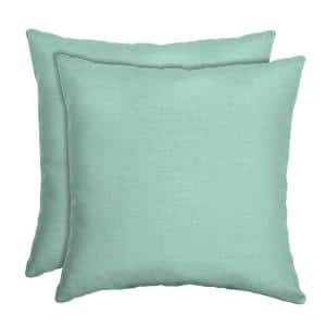 16 in. x 16 in. Aqua Leala Texture Square Outdoor Throw Pillow (2-Pack)