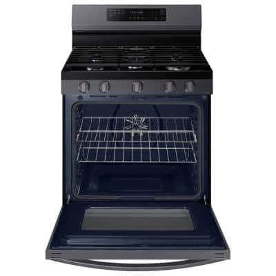 6.0 cu. ft. Smart Freestanding Gas Range with Air Fry in Fingerprint Resistant Black Stainless Steel