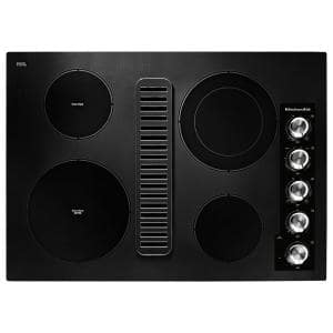 30 in. Electric Downdraft Cooktop in Black with 4 Elements