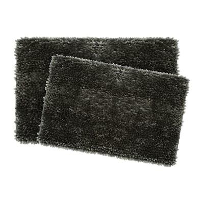 Mega Butter Chenille 17 in. x 24 in./20 in. x 32 in. 2-Piece Bath Mat Set in Charcoal