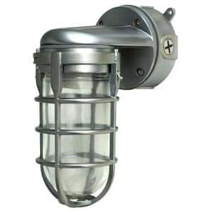 Industrial 1-Light Brushed Steel Outdoor Weather Tight Flushmount Wall Light Fixture
