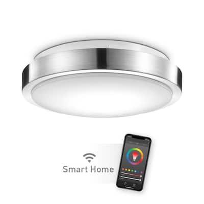 Wi-Fi Smart 11 in, 1-Light Brushed Nickel Smart LED Integrated Flush Mount