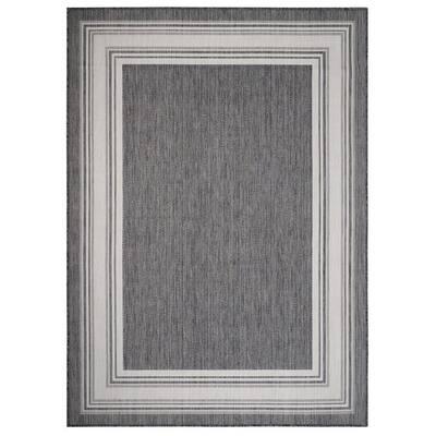 Kilimanjaro Gray/White 3 ft. x 5 ft. Framing Striped Bordered Polypropylene Indoor/Outdoor Area Rug