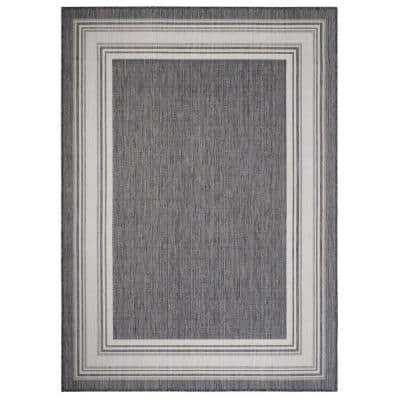 Kilimanjaro Gray/White 5 ft. 3 in. x 7 ft. Framing Striped Bordered Polypropylene Indoor/Outdoor Area Rug