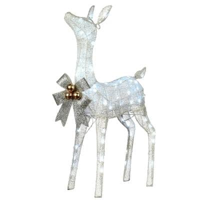 36 in. White Glittered Fawn with 70 Cool LED Twinkle Lights
