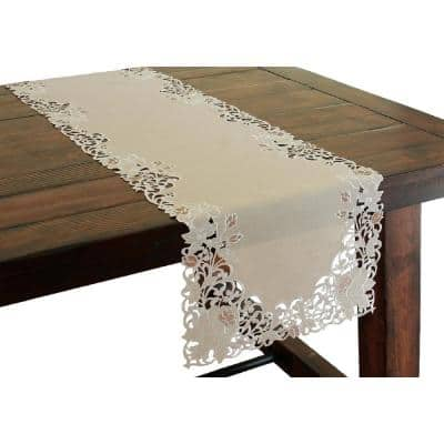 Scrolling Rose 15 in. x 72 in. Tan Embroidered Cutwork Table Runner