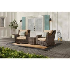 Rock Cliff Brown 3-Piece Wicker Outdoor Patio Seating Set with CushionGuard Toffee Trellis Tan Cushions