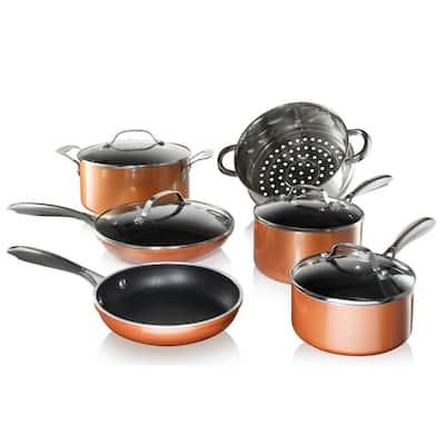 10-Piece Cast Textured Aluminum Ceramic Nonstick Cookware Set in Copper