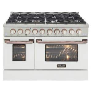 Custom KNG 48 in. 6.7 cu. ft. Natural Gas Range Double Oven with Convection in White with White Knobs and Rose Handle