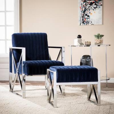 Graham Deep Blue with Chrome Chair and Ottoman Set