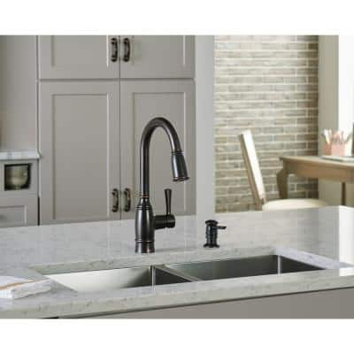 Noell Single-Handle Pull-Down Sprayer Kitchen Faucet with Reflex, Soap Dispenser and Power Clean in Mediterranean Bronze