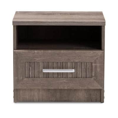 Gallia 1-Drawer Oak Brown Nightstand