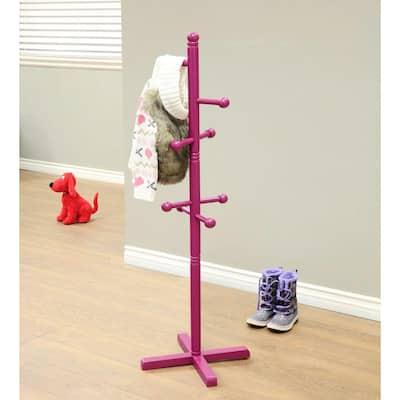 Home Craft 8-Hooks Kid's Coat Rack in Purple