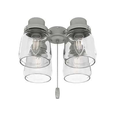 Original 4-Light Matte Silver Ceiling Fan Shades LED Light Kit