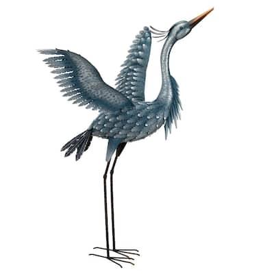 Large Metallic Blue Wings Up Heron Garden Statue