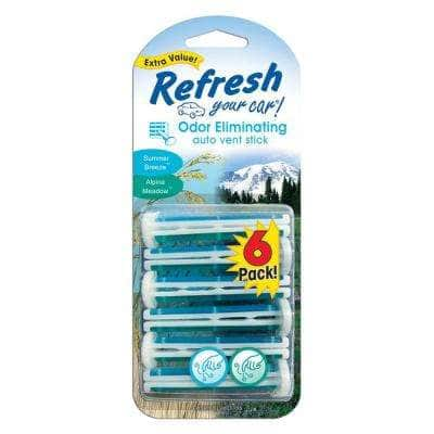 Alpine Meadow and Summer Breeze Odor Eliminating Auto Vent Stick (6-Pack)