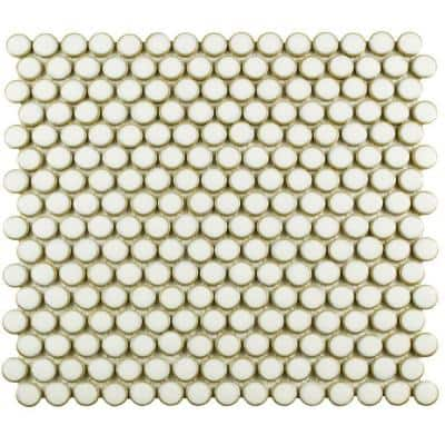 Hudson Penny Round Snowcap White 12 in. x 12 in. Porcelain Mosaic Tile (10.74 sq. ft. / Case)