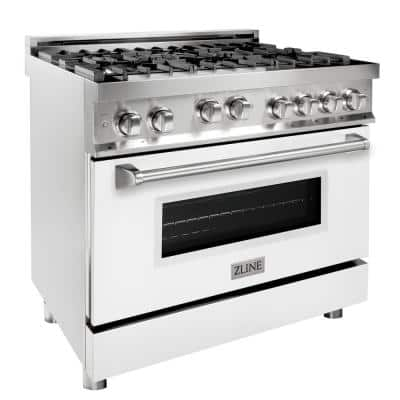 ZLINE 36 in. 4.6 cu. ft. Range with Gas Stove and Gas Oven in Stainless Steel and White Matte Door (RG-WM-36)