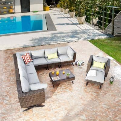 Patio Festival X Leg 10 Piece Wicker Patio Conversation Sectional Seating Set With Gray Cushions Pf20143 206 713 714x2 715 716x4 The Home Depot