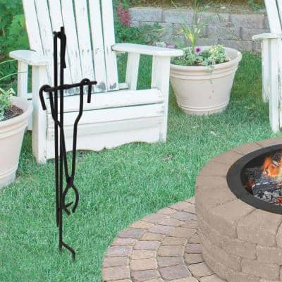 Fire Poker and Tong Stand Set