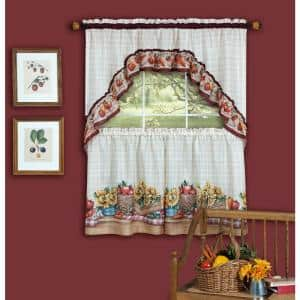 Farmers Market Multi-Color Polyester Light Filtering Rod Pocket Tier and Swag Curtain Set 57 in. W x 36 in. L