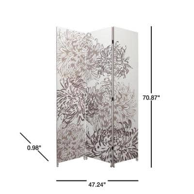 "kieragrace Bota Triple Panel Room Divider - White, 47"" by 71"", Chrysanthemum"