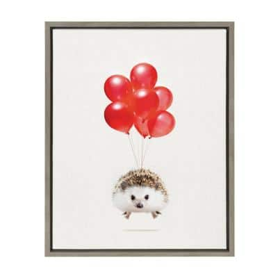 """Sylvie """"Hedgehog Balloons"""" by Amy Peterson Art Studio Framed Canvas Wall Art 18 in. x 24 in."""