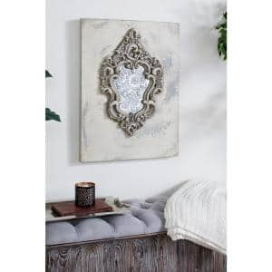 Large Gray and Beige Antique Frame with Damask Print Wooden Wall Art