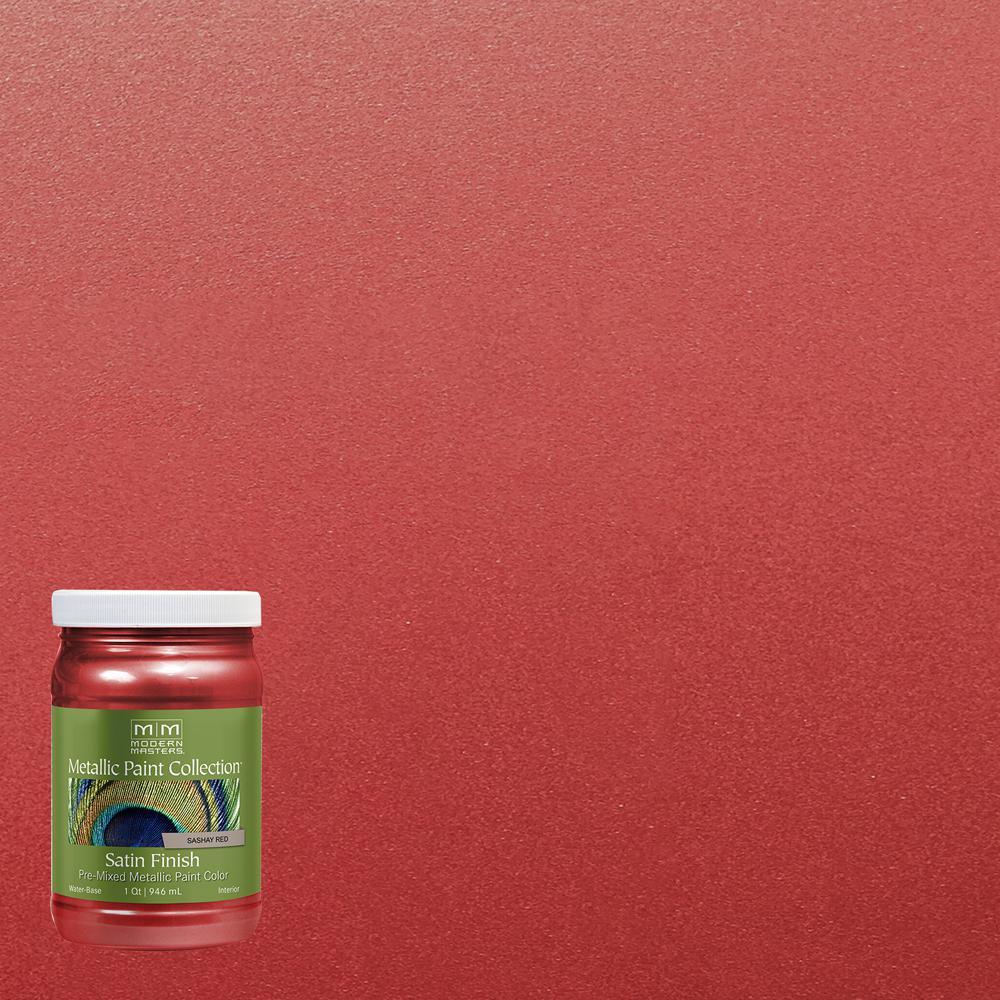 1 qt. Sashay Red Water-Based Satin Metallic Interior Paint