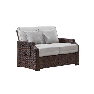 Sunnybrook Brown Wicker Reclining Outdoor Daybed with Brown Cushions