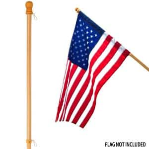 56 in. Pine Wooden House Flag Pole for Sleeve House Flag 28 in. x 40 in. Tangle Free Design Rotating Ring Anti-Wrap Tube