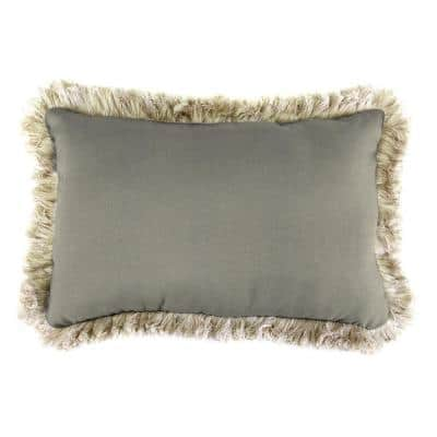 Sunbrella 19 in. x 12 in. Spectrum Dove Lumbar Outdoor Throw Pillow with Canvas Fringe
