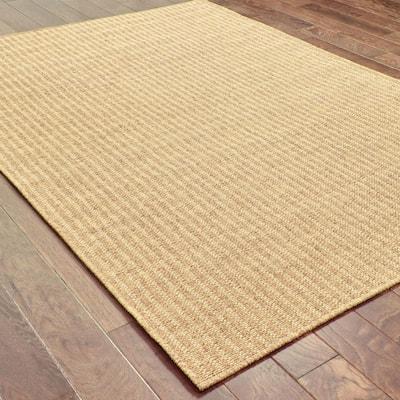 Caicos Woven Stripe Tan-Light Tan 3 ft. 7 in. x 5 ft. 6 in. Indoor/Outdoor Area Rug