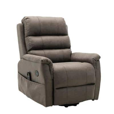 Deluxe Series Smoke Gray Palomino Fabric 2-Motor Li ft. and Massage Chair with Heat Therapy