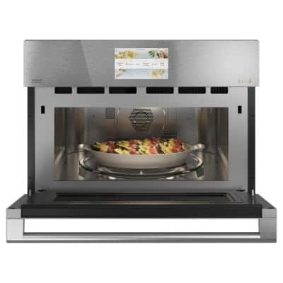 27 in. 1.7 cu. ft. Smart Electric Wall Oven and Microwave Combo with 120-Volt Advantium Technology in Platinum Glass