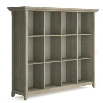 Acadian 48 in. H Distressed Grey Wooden 12-Shelf Accent Bookcase and Storage Unit
