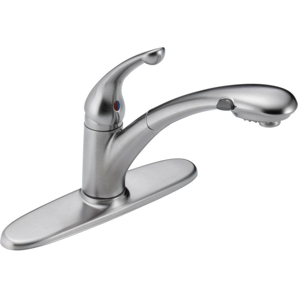 Delta Signature Single Handle Pull Out Sprayer Kitchen Faucet In Arctic Stainless 470 Ar Dst The Home Depot