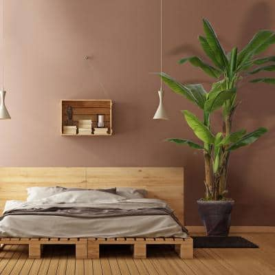 69.5 in. Tall Banana Tree Artificial Lifelike Decor Burlap Kit and Fiber Stone Planter