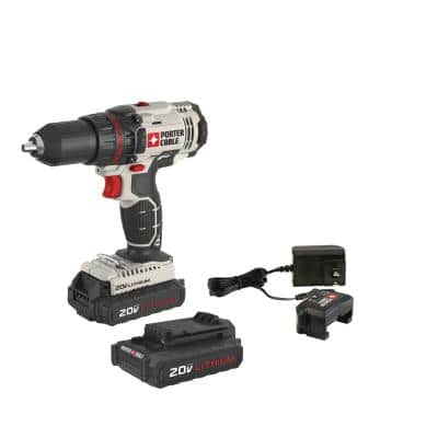 20-Volt MAX Lithium-Ion Cordless 1/2 in. Drill/Driver with 2 Batteries 1.3 Ah and Charger