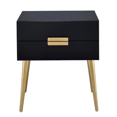 Amelia Sleek Black And Gold Two Drawer End Table