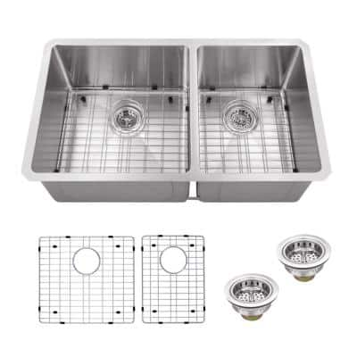 Undermount 16-Gauge Stainless Steel 32 in. 60/40 Double Bowl Radius Kitchen Sink with Grid Set and Drain Assemblies