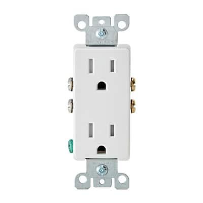 Decora 15 Amp Tamper Resistant Duplex Outlet, White